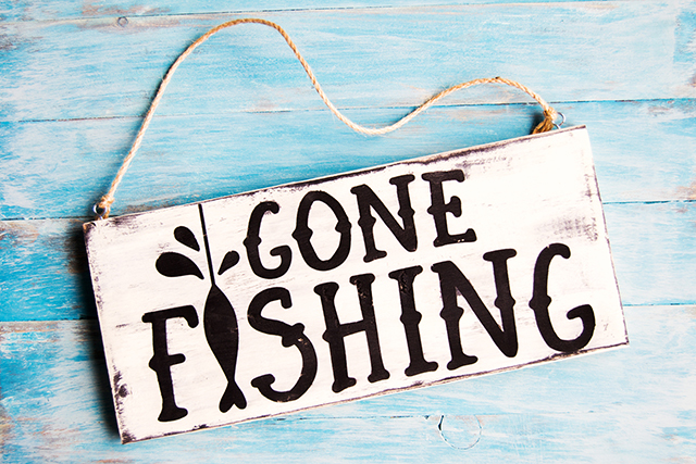 DIY sign gone fishing dad gift