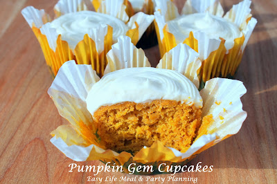 Pumpkin Gem Cupcakes with Cream Cheese Frosting - Easy Life Meal & Party Planning - a VERY easy recipe!