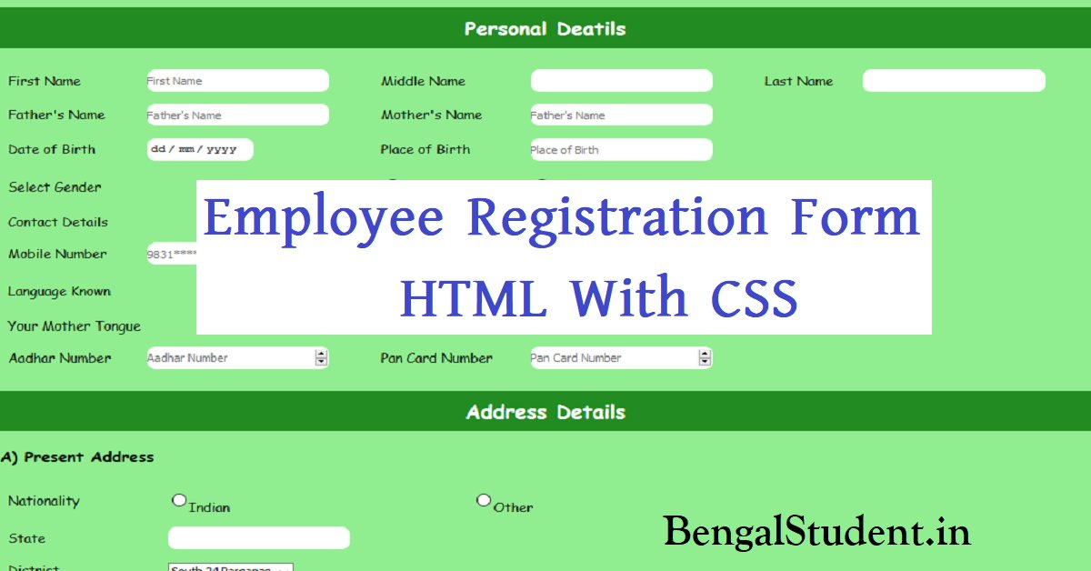 Employee Registration Form in HTML With CSS - Source Code Free Download