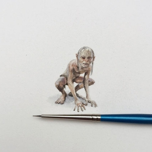 21-Gollum-Smeagol-Lord-of-the-Rings-The-Hobbit-Karen-Libecap-Star-Wars-&-other-Miniature-Paintings-and-drawings-www-designstack-co