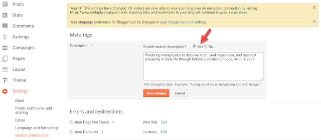 Customize Blogger Description Meta Tag