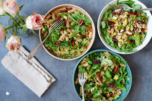 salade pâtes roquette champignons courgettes vegan estival