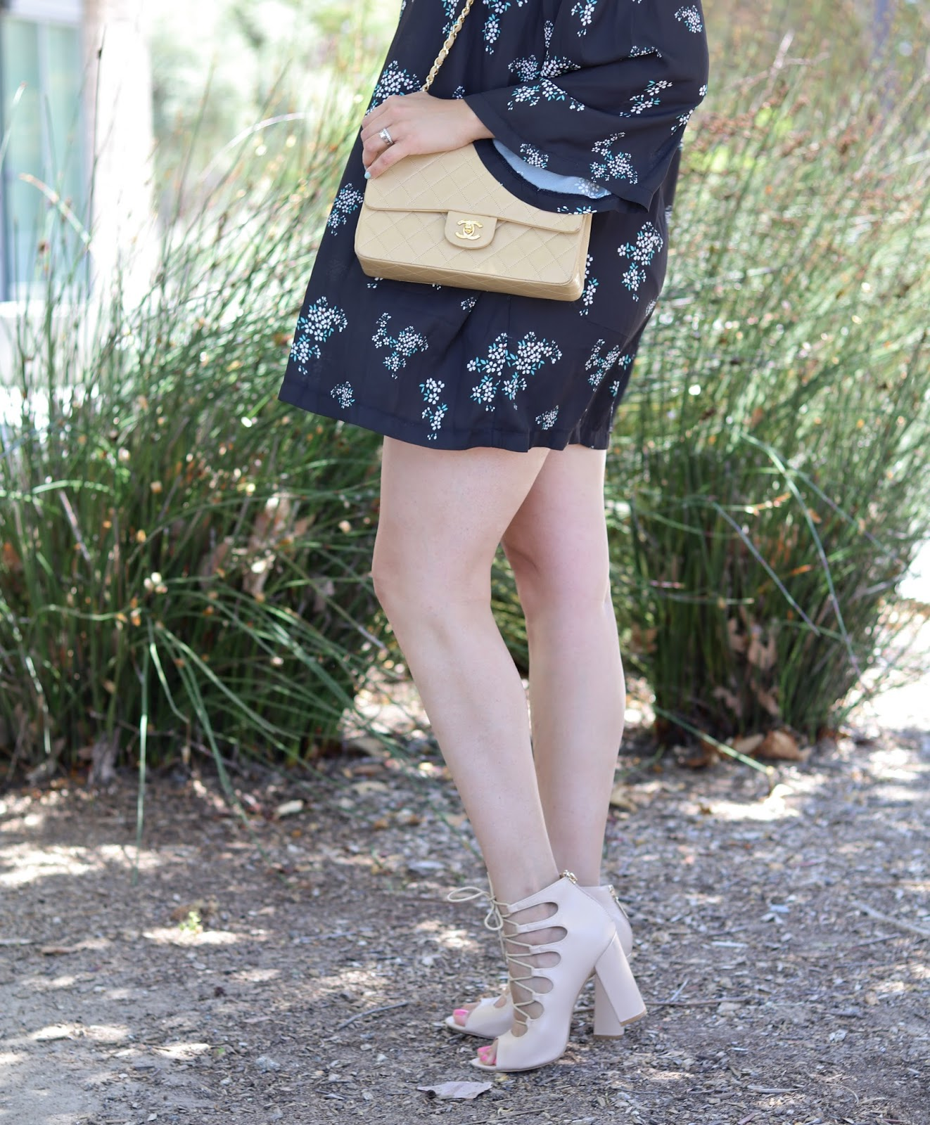 Nude Chanel Purse and nude lace up heels, how to wear a nude chanel purse, casual look with chanel flap bag