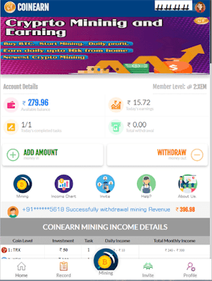 Coinearn App : Earn money by crypto mining at home - coinearn.in