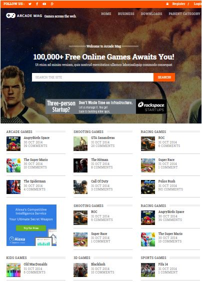 Arcade Mag Adsense Responsive Blogger Templates Without Footer Credit