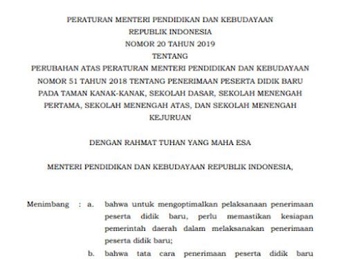 Permendikbud Nomor 20 Tahun 2019
