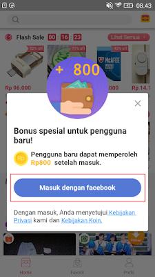 cara masuk dengan akun facebook di aplikasi flash go android