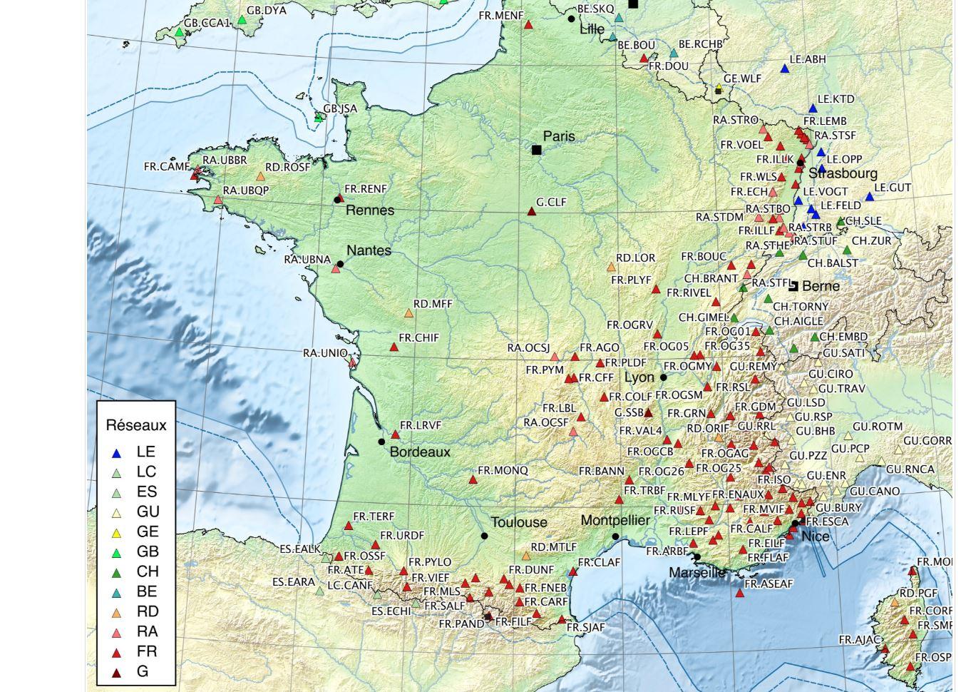 Les sismographes sur le territoire français