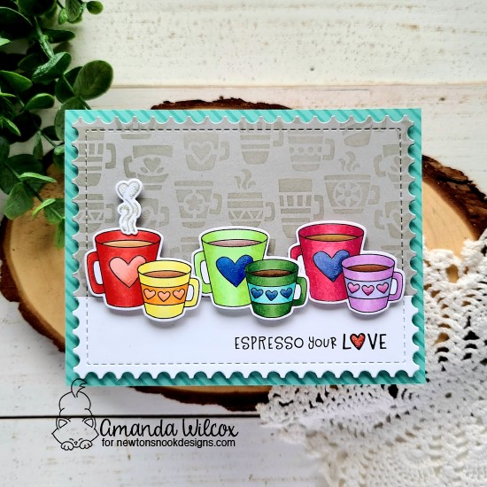 Espresso your Love card by Amanda Wilcox | Love Café Stamp Set, Framework Die Set and Mugs Stencil by Newton's Nook Designs