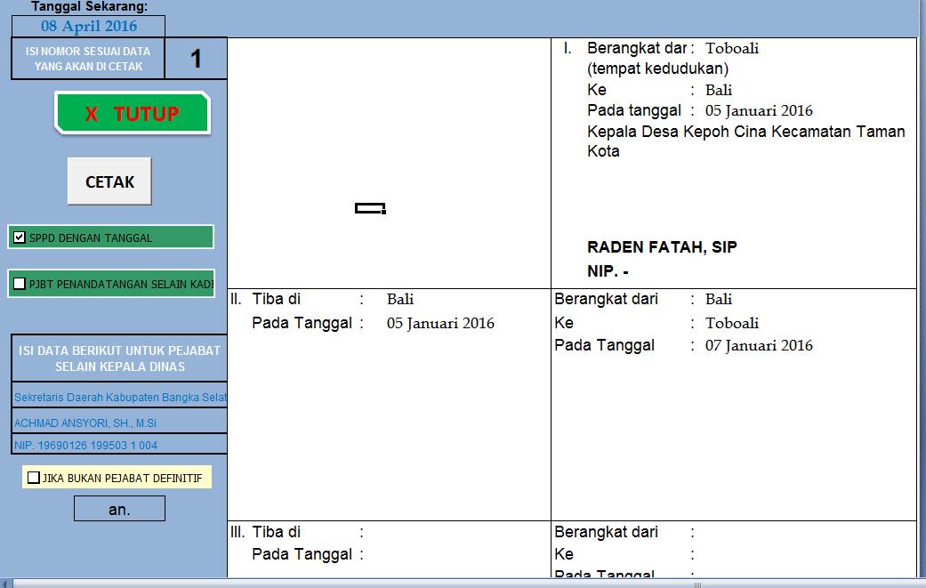 Lentera Anak Desa Aplikasi Sppd Excel Ver 2016