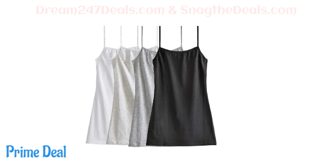 60%OFF Big Girl's Cotton Cami Adjustable Spaghetti Strap Tank Top (Pack of 4)