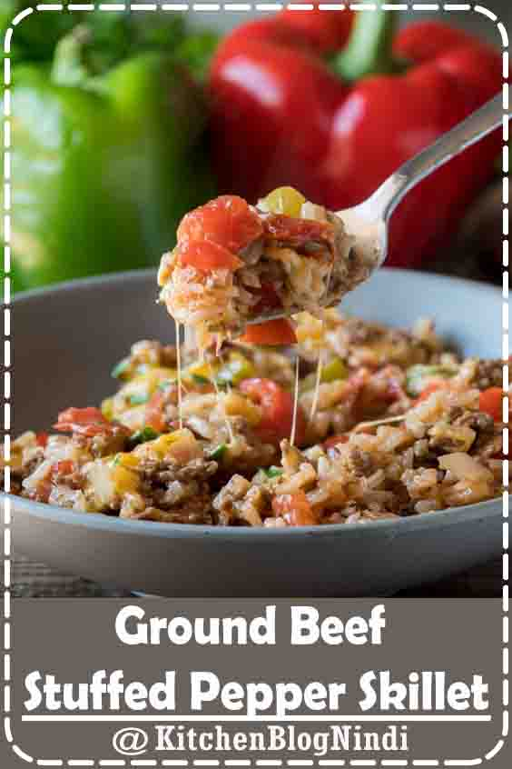 4.8★★★★★ | This Ground Beef Stuffed Pepper Skillet is filled with all the flavors of traditional stuffed peppers, but made in just one pan in less than 30 minutes! #Ground #Beef #Stuffed #PepperSkillet