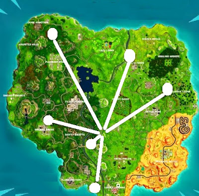 Stone Head Locations, Map, Fortnite, Season 5, Week 6