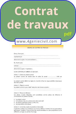 modèle de contrat de travaux à télécharger en format pdf.