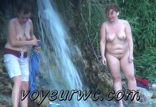Spy Cam Waterfall Shower 228-232 (Naked women caught on spy cam taking shower natural waterfall)