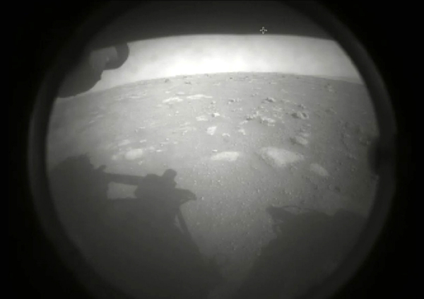 One of the first images taken by NASA's Perseverance rover shortly after it successfully landed at Mars' Jezero Crater...on February 18, 2021.