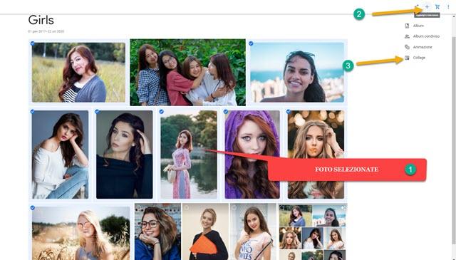 creare collage con google foto