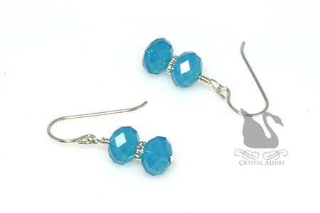 Breathtaking Caribbean Blue Crystal Beaded Earrings (E222)