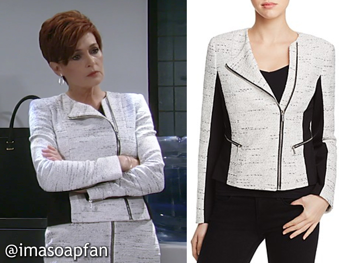 Diane Miller, Carolyn Hennesy, White and Black Tweed Moto Jacket, Calvin Klein, GH, General Hospital, Season 55