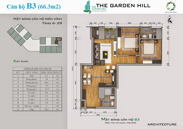 Thiết kế căn hộ B3 The Garden Hill