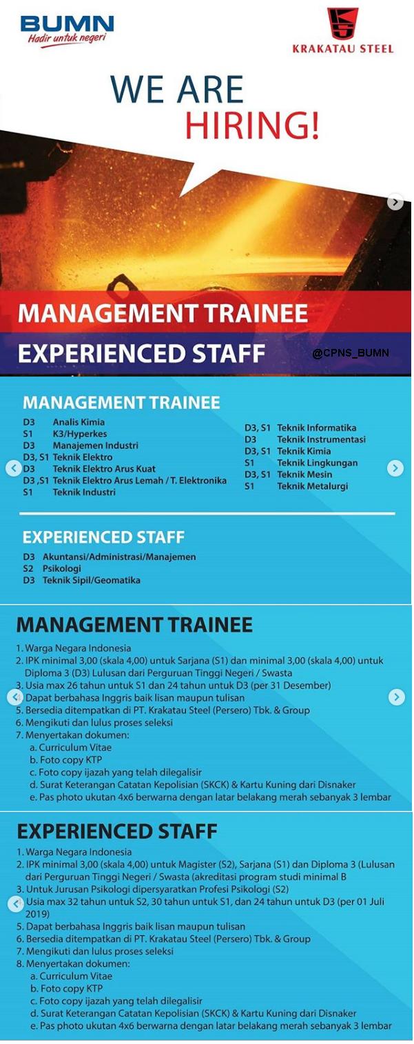 Lowongan Kerja Bumn Pt Krakatau Steel Persero Tbk Tahun 2019 Rekrutmen Lowongan Kerja Bulan Februari 2021