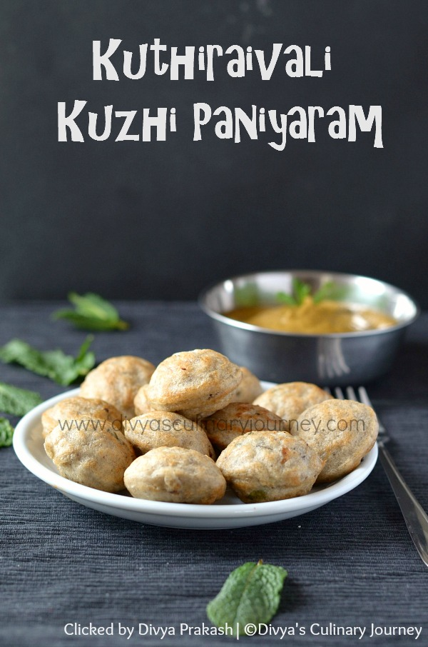 kuthiraivali kuzhi paniyaram, barnyard millet recipes