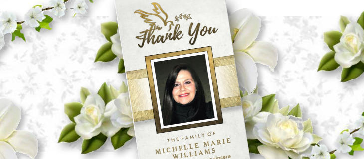 white and gold vertical golden dove sympathy thank you card