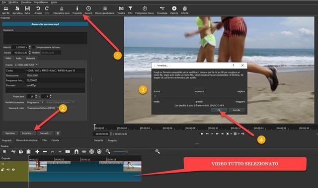 come riprodurre video al contrario con shotcut