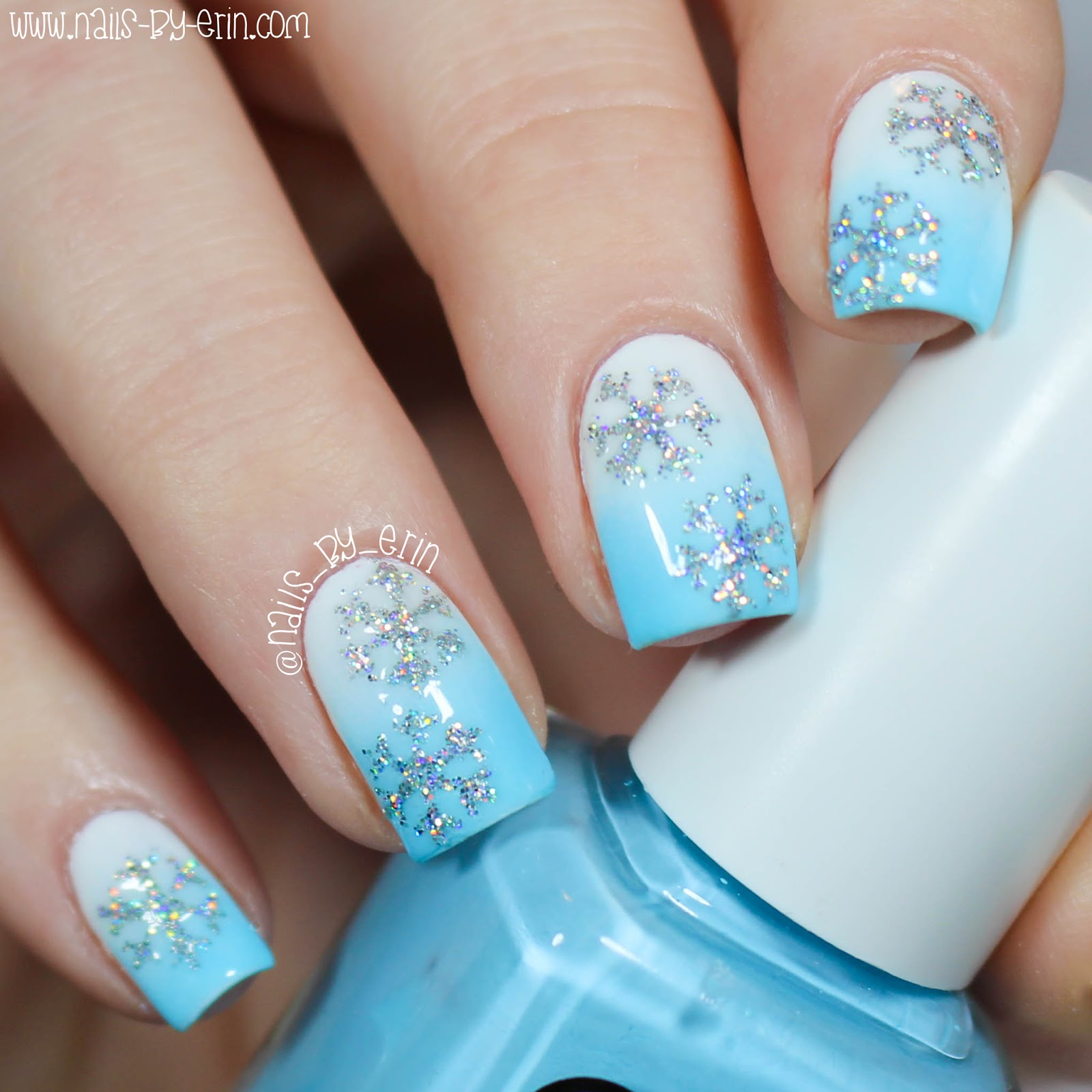 Glitter Snowflake Nails - Nail Ftempo