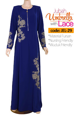 Jubah Umbrella Lace JEL-29 Blue Depan 3