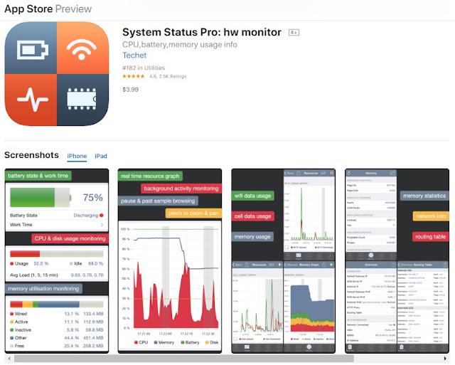 aplikasi pendingin hp iphone - cek cpu dan baterai