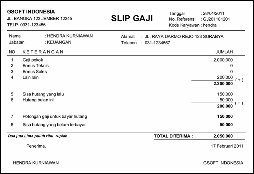 Contoh Slip Gaji Bulanan Karyawan Swasta