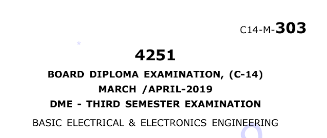 Diploma Basic Electrical & Electronics Engineering old question paper march/april 2019