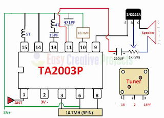 Circuit Diagram of FM Radio - ta2003p radio circuit