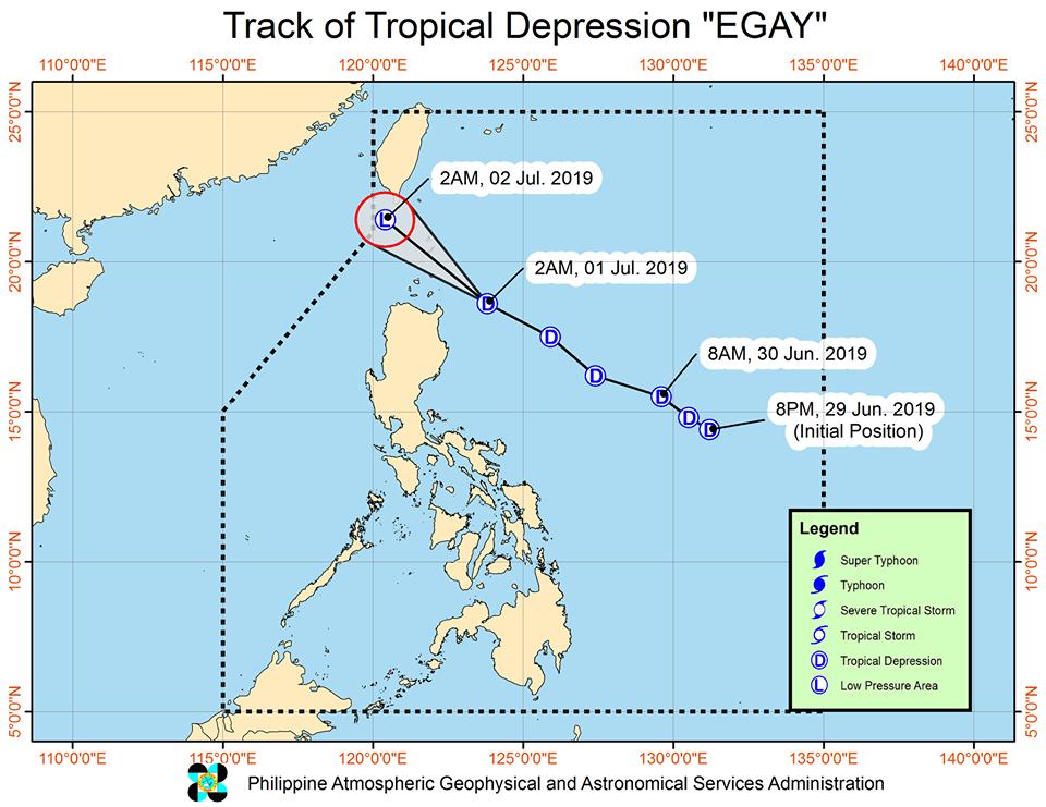 Track of Tropical Depression Egay