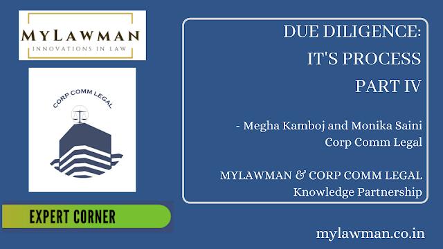 [Expert Corner Series] Due Diligence: It's Process by Megha Kamboj & Monika Saini- PART-IV | Corp Comm Legal on Corporate Law