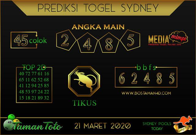 Prediksi Togel SYDNEY TAMAN TOTO 21 MARET 2020