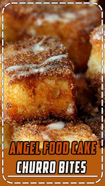 Angel Food Cake Churro Bites - a delicious sugar and cinnamon treat topped with glaze!