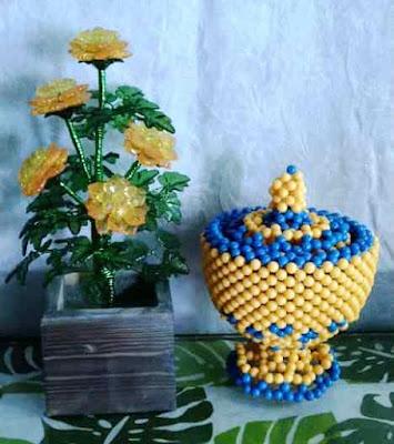 Paket Bunga Akrilik dan Wadah Permen-Dekorasi Ruang by Berlian Craft