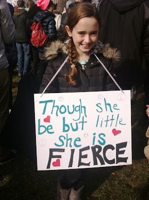 """Though she be but little, she is fierce"" A young girl attends the Boston Women's March"