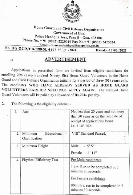 Goa Home Guard Civil Defence Recruitment 2021 apply offline