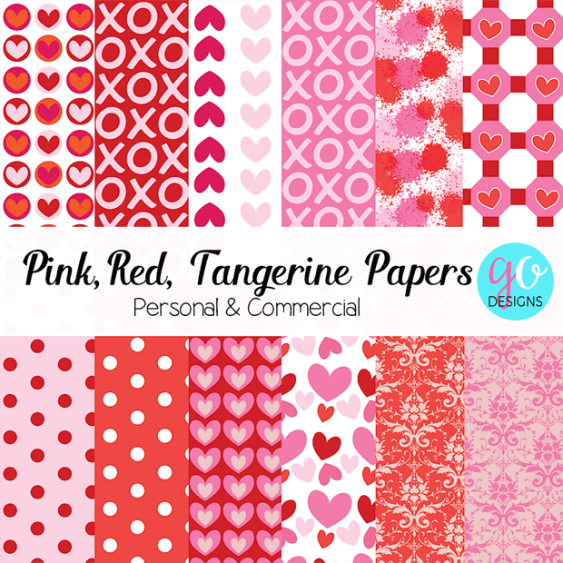 Digital Valentine Papers in pink, red, white and tangerine.