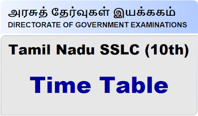 TN Public Exam Time Table