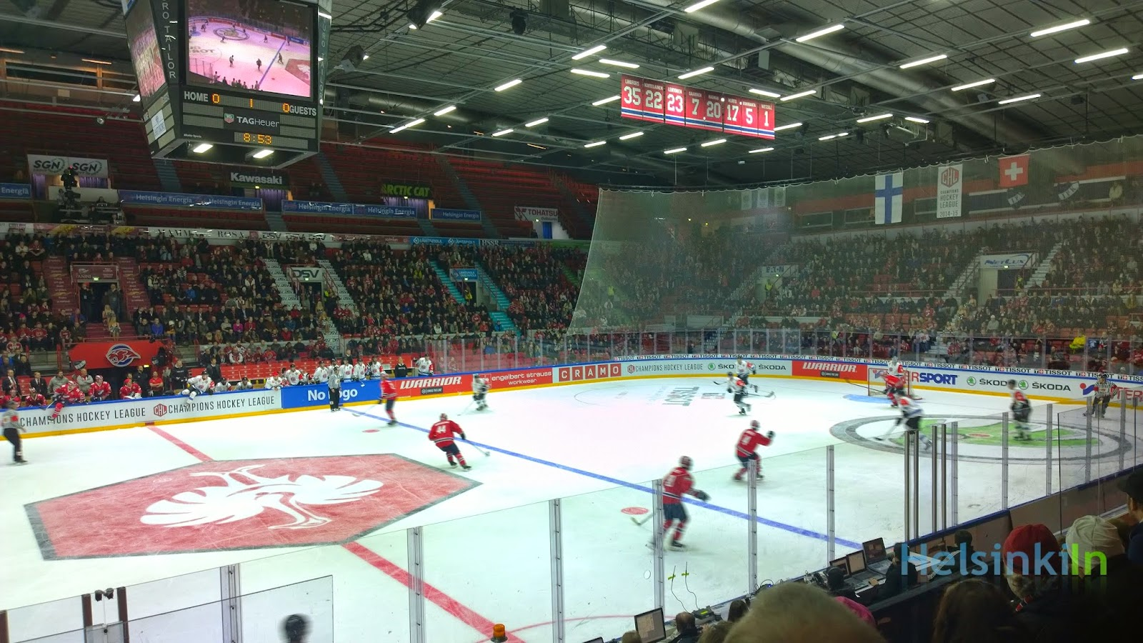 HIFK in their CHL game against Fribourg