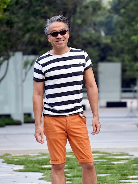 横縞Tシャツのメンズ コーディネート