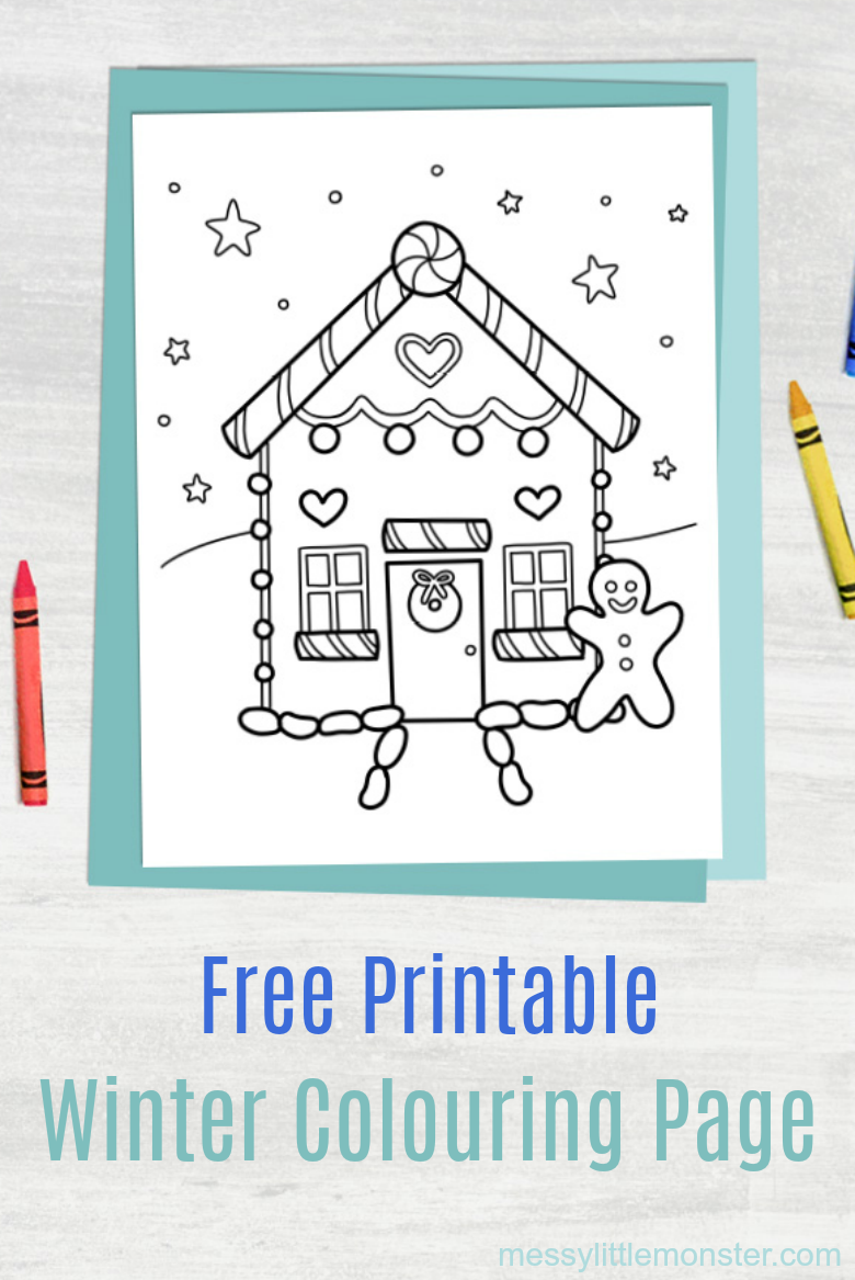 winter colouring page for kids free printable