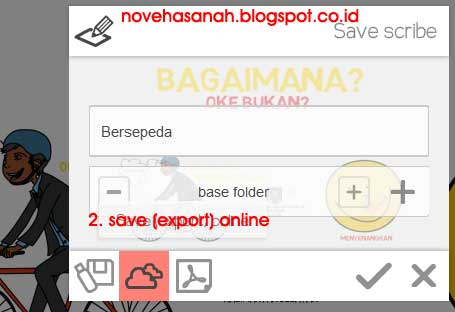 cara menyimpan file scribe (file mentah) ke internet dengan tombol save (export) online