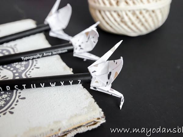 DIY Mini-Origami-Kraniche als Bleistiftdeko und eine Buchvorstellung