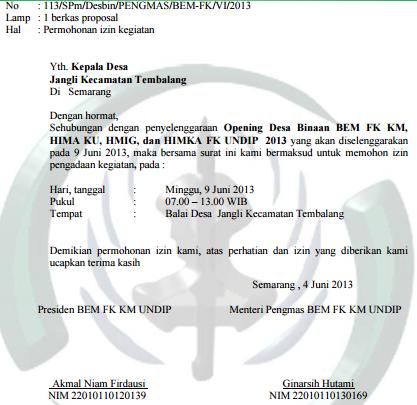 Contoh Surat Permohonan Izin Kegiatan Untuk Kepala Desa Yang Baik