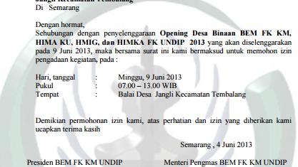 Contoh Surat Permohonan Izin Kegiatan Untuk Kepala Desa Yang